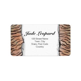 Tiger Skin Print in Tangerine Apricot Label