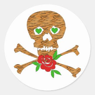 Tiger Skull Valentine Classic Round Sticker