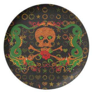 Tiger Skull Valentine Dinner Plate