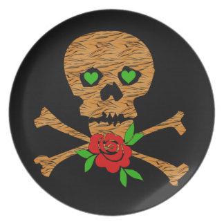 Tiger Skull Valentine Melamine Plate