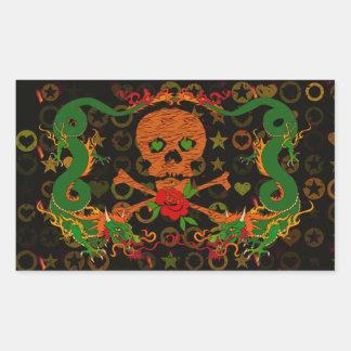 Tiger Skull Valentine Rectangular Sticker