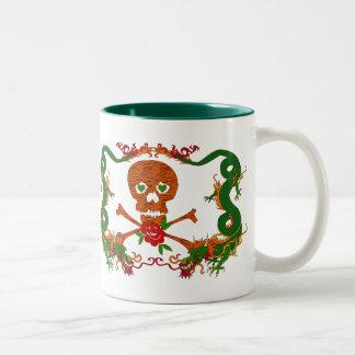 Tiger Skull Valentine Two-Tone Coffee Mug