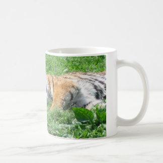 Tiger sleeping classic white coffee mug