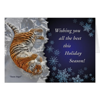 "Tiger ""Snow Angel"" all Faiths Holiday Card"