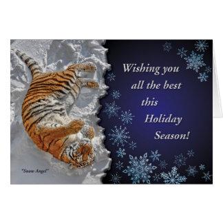 """Tiger """"Snow Angel"""" all Faiths Holiday Card"""