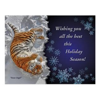 Tiger Snow Angel Holiday Post Card