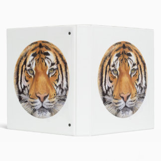 """Tiger Spot"" on White, Watercolor Art 3 Ring Binder"