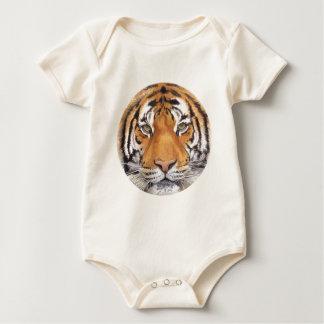 """Tiger Spot"" on White, Watercolor Art Baby Bodysuit"