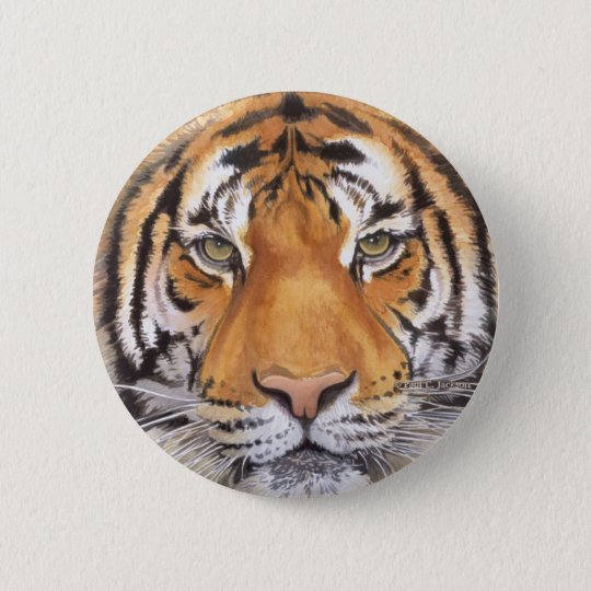"""Tiger Spot"" on White, Watercolor Art Button"