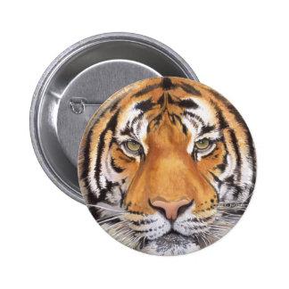 """Tiger Spot"" on White, Watercolor Art Button"