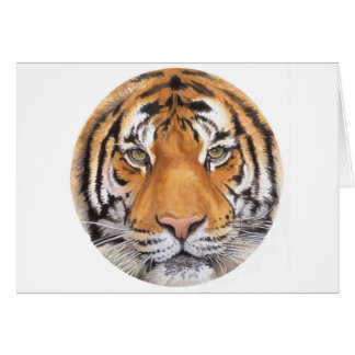 """""""Tiger Spot"""" on White, Watercolor Art Card"""
