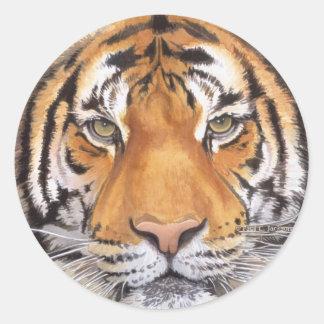 """Tiger Spot"" on White, Watercolor Art Classic Round Sticker"