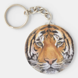 """""""Tiger Spot"""" on White, Watercolor Art Keychain"""