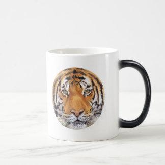 """Tiger Spot"" on White, Watercolor Art Magic Mug"