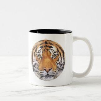 """Tiger Spot"" on White, Watercolor Art Two-Tone Coffee Mug"