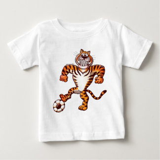 Tiger Stepping on a Soccer Ball for a Free Kick Baby T-Shirt