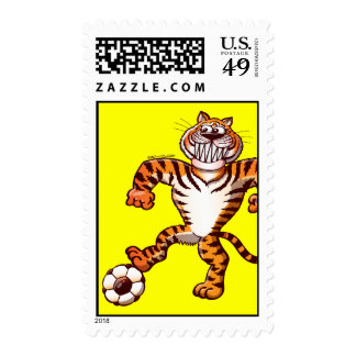 Tiger Stepping on a Soccer Ball for a Free Kick Postage Stamps