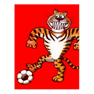 Tiger Stepping on a Soccer Ball for a Free Kick Postcard