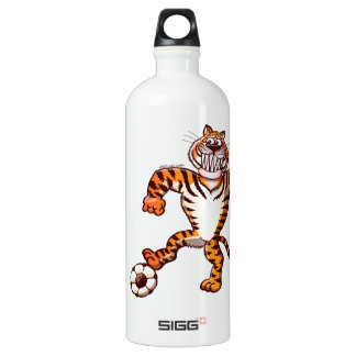Tiger Stepping on a Soccer Ball for a Free Kick Water Bottle