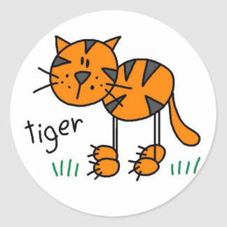 Tiger Stick Figure Stickers Sticker