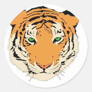 Tiger Round Stickers