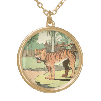 Tiger Storybook Gold Plated Necklace