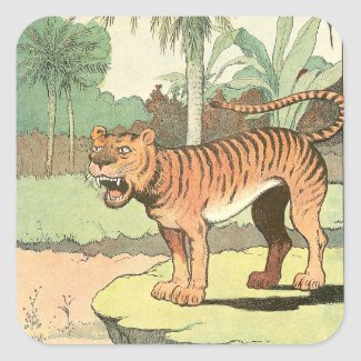 Tiger Storybook Square Sticker