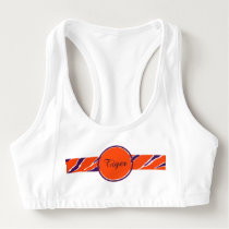 Tiger Strip Purple Orange Monogrammed Sports Bra