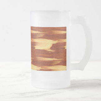 Tiger Stripe Bamboo Wood Grain Look Frosted Glass Beer Mug