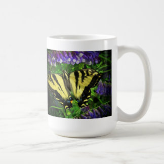 Tiger Stripe Butterfly and Blue Flowers Classic White Coffee Mug
