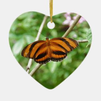 Tiger Stripe Butterfly Ceramic Heart Decoration
