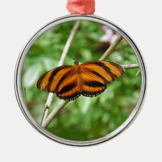 Tiger Stripe Butterfly Silver-Colored Round Decoration