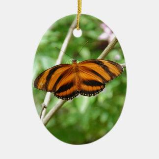 Tiger Stripe Butterfly Ceramic Oval Decoration