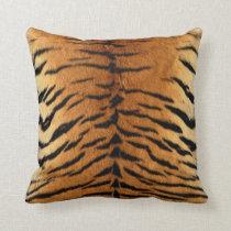 Tiger Stripe Fur Print Throw Pillow