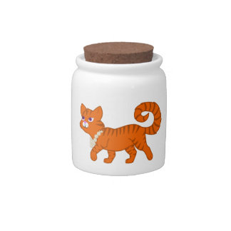 Tiger Stripe Orange Cat with Pearl Necklace Candy Dishes