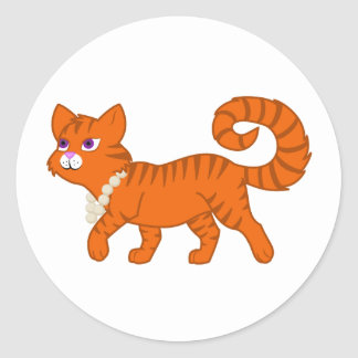 Tiger Stripe Orange Cat with Pearl Necklace Classic Round Sticker
