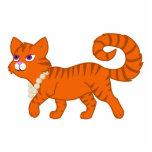 Tiger Stripe Orange Cat with Pearl Necklace Photo Sculpture Magnet