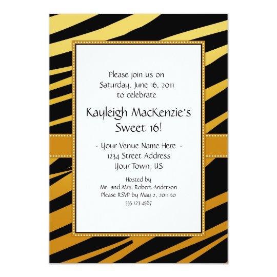 Tiger Stripe Sweet 16 Invitation