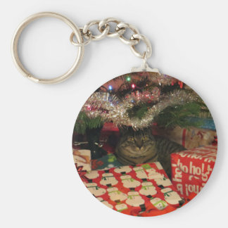 Tiger striped cat under Christmas Tree Keychain