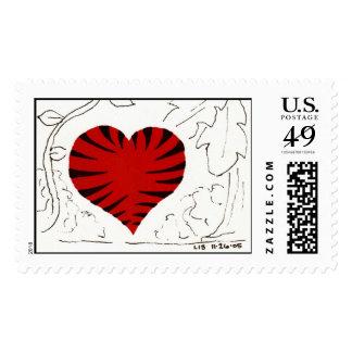 Tiger-Striped Heart (detail) stamp