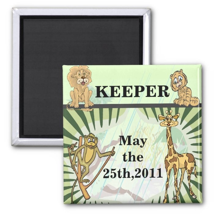 Tiger Stripes Jungle Baby Reminder 2 Inch Square Magnet