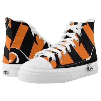 Tiger Stripes Orange & Black Waves Hi-Top Sneakers Printed Shoes
