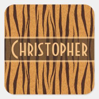 Tiger Stripes Skin Pattern Personalize Square Sticker