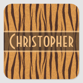 Tiger Stripes Skin Pattern Personalize Square Sticker