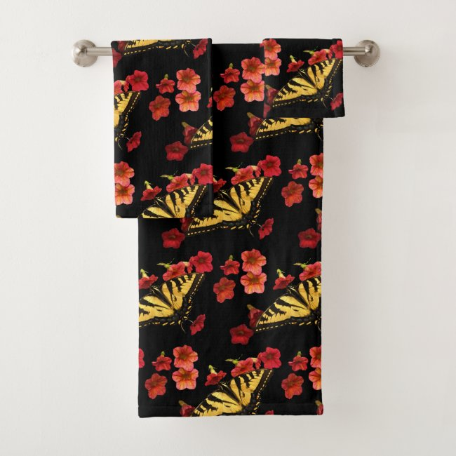 Tiger Swalllowtail on Red Flowers Bath Towels