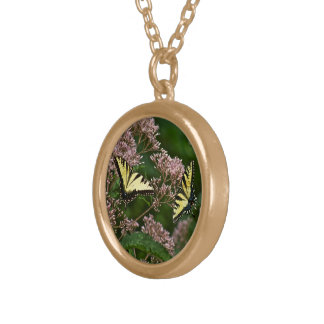 Tiger Swallowtail Butterflies on Joe Pye Weed Gold Plated Necklace