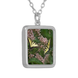 Tiger Swallowtail Butterflies on Joe Pye Weed Silver Plated Necklace