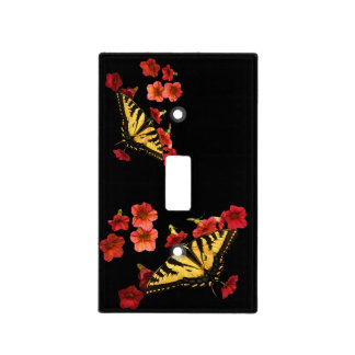 Tiger Swallowtail Butterflies on Red Flowers Switch Plate Covers