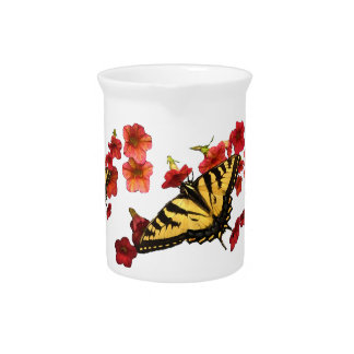 Tiger Swallowtail Butterflies on Red Flowers Pitcher