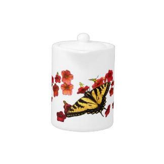 Tiger Swallowtail Butterflies on Red Flowers Teapot